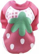 Trui voor honden - Roze trui voor hondjes -Aardbei Design - Maat L