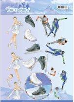 3D Knipvel - Jeanine's Art - Wintersports - Schaatsen
