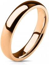Ring Dames - Heren Ring - Rosé Goudkleurig - Goud Kleur - Glimmende Ring met Afgeronde Hoeken - Glow