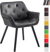 Clp Luxueuze bezoekersstoel CASSIDY club stoel, beklede eetkamerstoel met armleuning, belastbaar tot 150 kg - zwart kleur onderstel : zwart