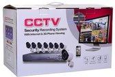 Beveiligings camera set met 8 cameras WIT CCTV