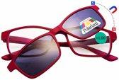 Benson Leesbril met magneet zonnebril - Rood - Sterkte +1.00