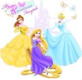 Disney Princess - Muursticker - Geel/paars/blauw - 70x70 cm