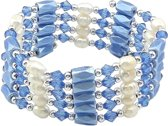 Zoetwater parel armband Wrap Magnetite Blue Pearl