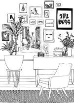 bol.com | vlies photowallXL tekening woonkamer lounge - 158814 ...