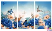 """Diamond Painting """"JobaStores®"""" Vlinders 3 luiks - volledig - 60x25cm"""
