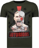 Local Fanatic Notorious Warrior -McGregor Rhinestone T-shirt - Khaki - Maten: XXL