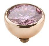 Melano twisted steen rond - Roségoudkleurig + Pink - Dames - 8mm