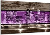Glasschilderij Modern | Paars, Grijs, Zwart | 120x70cm 1Luik | Foto print op Glas |  F004448