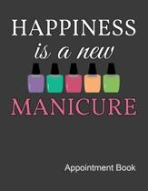 Happiness Is A New Manicure Appointment Book: Nail Tech Daily and Hourly - Undated Calendar - Schedule Interval Appt & Times