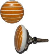 Deurknop keramiek oranje met witte strepen