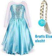 Elsa jurk met sleep- prinsessen jurk - 86/92 (labelmaat 100) - verkleedkleding