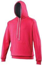 Hooded sweater roze met grijs L