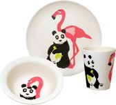 Zuperzozial Raw Earth Kinderservies - 3-delig - Wit - Flamingoprint