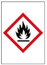 Sticker 'Ontvlambare stoffen' GHS02, 10 op vel, gevarensymbool, 37 x 52 mm