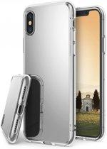 iPhone Xs zilveren siliconen hoesje met spiegel/mirror achterkant voor een optimale bescherming van de Apple Iphone Xs, bling bling case, zilver , merk i12Cover
