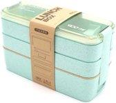 Bento Box Lunchbox Groen met bestek - Eco - Magnetron / Vriezer / Vaatwasser bestendig - Duurzaam en Milieuvriendelijk - Bio 3 lagen mealprep container - 900 ml - 3 kleuren - Beige - Groen - Roze