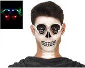 Halloween/horror doodskoppen bril met groene verlichting voor volwassenen - Halloween verkleed accessoire