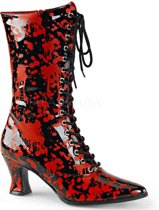 EU 36 = US 6   VICTORIAN-120BL   *2 3/4 Heel, Front Lace Up Mid-Calf Boot, Side Zip
