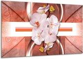Canvas schilderij Orchidee | Wit, Rood | 120x70cm 1Luik