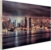 Duister New York City Hout 160x120 cm - Foto print op Hout (Wanddecoratie) XXL / Groot formaat!