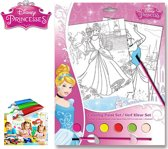 Disney Princess Verf Kleur Set - Inclusief 6 Potjes Verf + 1 Kwast