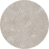 MixMamas Rond Tafelkleed Gecoat - Ø 160 cm - Palm Leaves- Jacquard - Beige