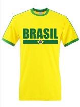 Geel Brazilie supporter ringer t-shirt met groene randjes heren - Braziliaanse vlag shirts S