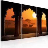 Schilderij - De rust van Afrika , oranje bruin , 3 luik