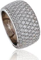 Classics&More Zilveren Ring - Maat 58 - Zirkonia