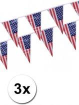 3x Vlaggenlijn USA
