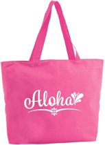 Aloha shopper tas - fuchsia roze - 47 x 34 x 12,5 cm - boodschappentas / strandtas