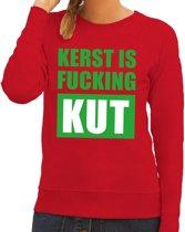 Foute kersttrui / sweater Kerst Is Fucking Kut - rood voor dames - Kersttruien M (38)