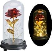 Gouden Roos - Gouden Roos In Glazen Stolp Met LED - Beauty and the Beast - Valentijn, Trouw & Liefde Cadeau - Golden Rose - Enchanted Rose - Roos - Kunstbloem - Kunstroos - Gouden Roos kado