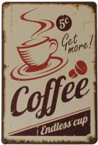 Signs-USA Coffee - Retro Wandbord - Metaal - 30x20 cm