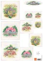 Hobby wenskaartenpakket - Marianne Design decoupage x1 Tiny's country garden 1 - 10 stuk
