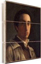 Zelfportret - Schilderij van Edgar Degas Vurenhout met planken 30x40 cm - klein - Foto print op Hout (Wanddecoratie)