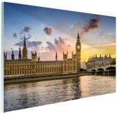 Big ben bij zonsondergang Glas 90x60 cm - Foto print op Glas (Plexiglas wanddecoratie)