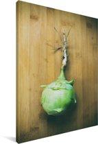Groene koolrabi op een snijplank Canvas 20x30 cm - klein - Foto print op Canvas schilderij (Wanddecoratie woonkamer / slaapkamer)