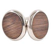 Donkerkleurig ronde manchetknopen met houten inleg