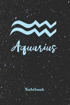 Aquarius Zodiac Sign Notebook: Astrology Journal, Horoscope Notepad, Notes, 120 Pages, blanc lined, 6'' x 9'' diary