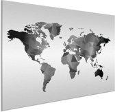 Wereldkaart op aluminium - zwart - grijs - wit - artistiek 60x40 cm