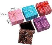 24 stuks Verpakkings doosjes ring - met sterretjes - 5x5x3.5 cm