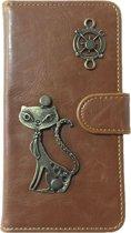 MP Case® PU Leder Mystiek design Bruin Hoesje voor Samsung Galaxy S8 Kat Figuur book case wallet case
