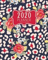 2020 Planner Weekly And Monthly: 2020 planner January To December - 8x10 Size - Calendar Views And Vision Board - Blue And Red Animal Print Floral Cov