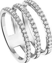 The Jewelry Collection Multi-ring Zirkonia - Zilver Gerhodineerd