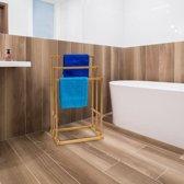 relaxdays Handdoekenrek bamboe hout - Staand rek handdoeken - handdoek houder - 40x24,5x82