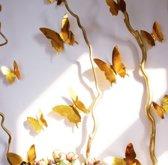 3D Vlinders - Muurdecoratie - Spiegel Goud