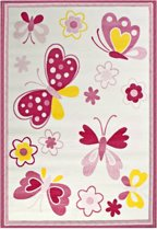 Bambino Kids - Butterly - Wit - Roze - Kinderkamer - 80x150 cm