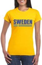 Geel Zweden supporter t-shirt voor dames XS